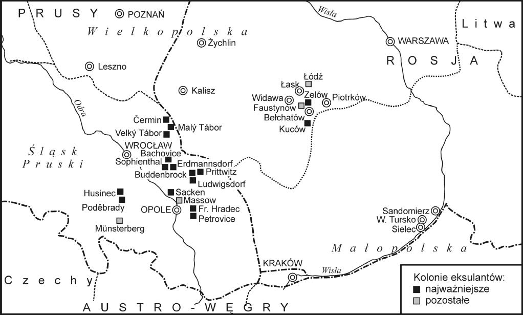 mapa osad czeskich na Śląski i w Królestwie Polskim w pierwszej połowie XIX w. (historia parafii w Kleszczowie)
